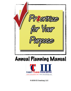Prioritze for Your Purpose Annual Planning Manual